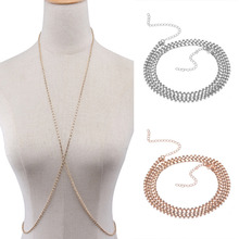 Full Rhinestone Bikini Body Chain Deep V Bra Chain For Women Sexy Belly Chain Jewelry Gold Silver Color X Shape Necklace