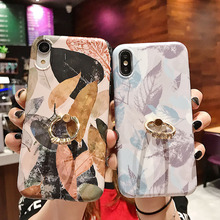 Tropical Leaves Phone Case For iPhone 6 6S 7 8 Plus 11 Pro Max X XR XS MAX Shell Coque Back Cover Silicone TPU with Finger Ring flower printed shell finger ring stand phone case for iphone x xr xs max soft tpu cover for iphone 7 8 plus 6 6s gli case coque