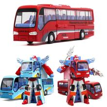 Alloy Robot Transformation Car Toys Alloy Deformation P olice Robot Bus Toy For Kids children Birthday Christmas gift(China)