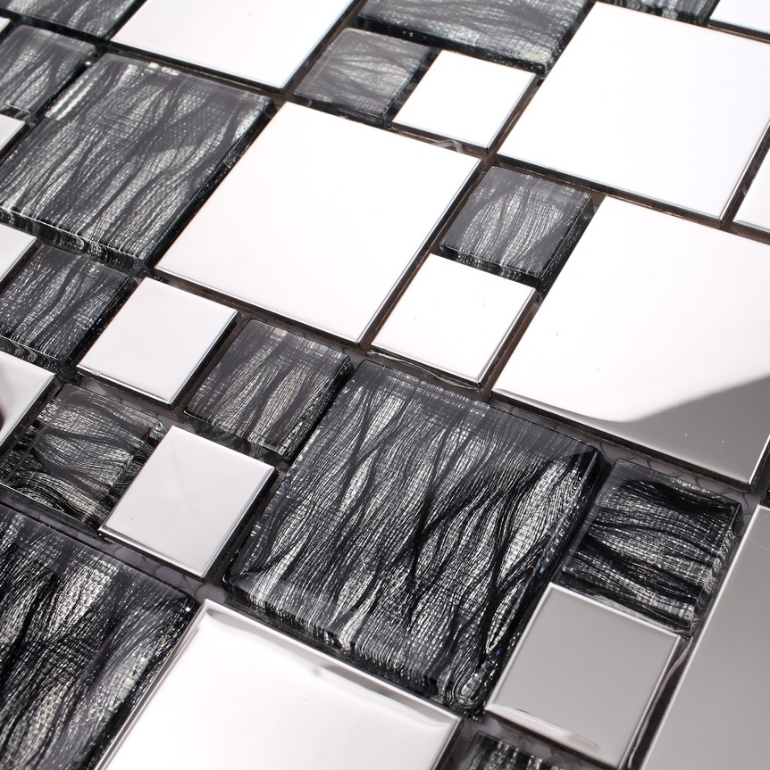 small and big gray glass mixed stainless steel metal mosaic for kitchen backsplash tile bathroom shower mosaic tiles border