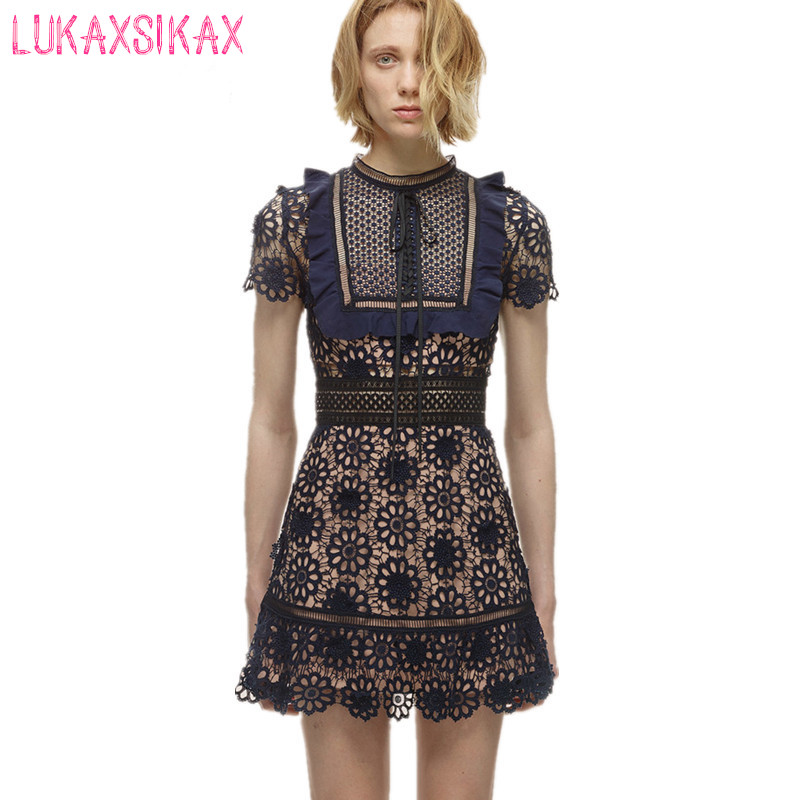 2017 New Fashion S*P Lace Runway Dress Women Hollow Out Sleeveless Sexy Summer Dress Designer Luxury Party Dresses