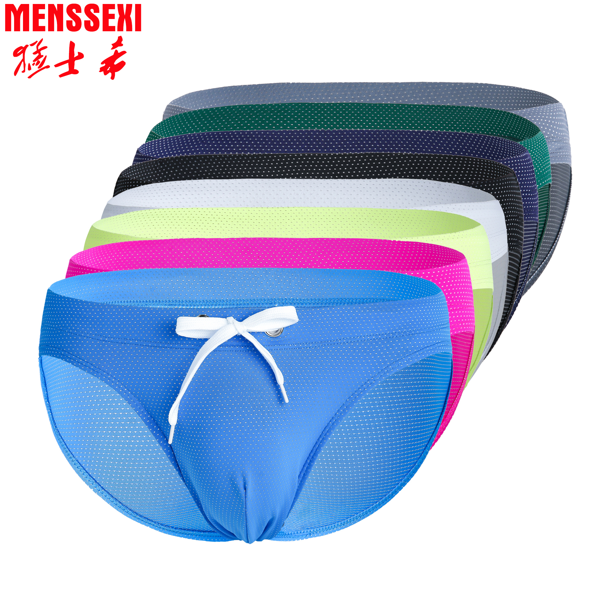 High Quality MENSSEXI 2020 New Swimwear Men Swim Briefs Sexy Neon Bikini Low Rise Gay Bulge Pouch Nylon Swimsuit Pink