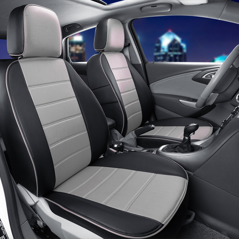 AutoDecorun Car Seat Supports for Hyundai Elantra 2017 Accessoires Seat Covers Custom Fit PU Leather Covers Car Seat Cushion Set