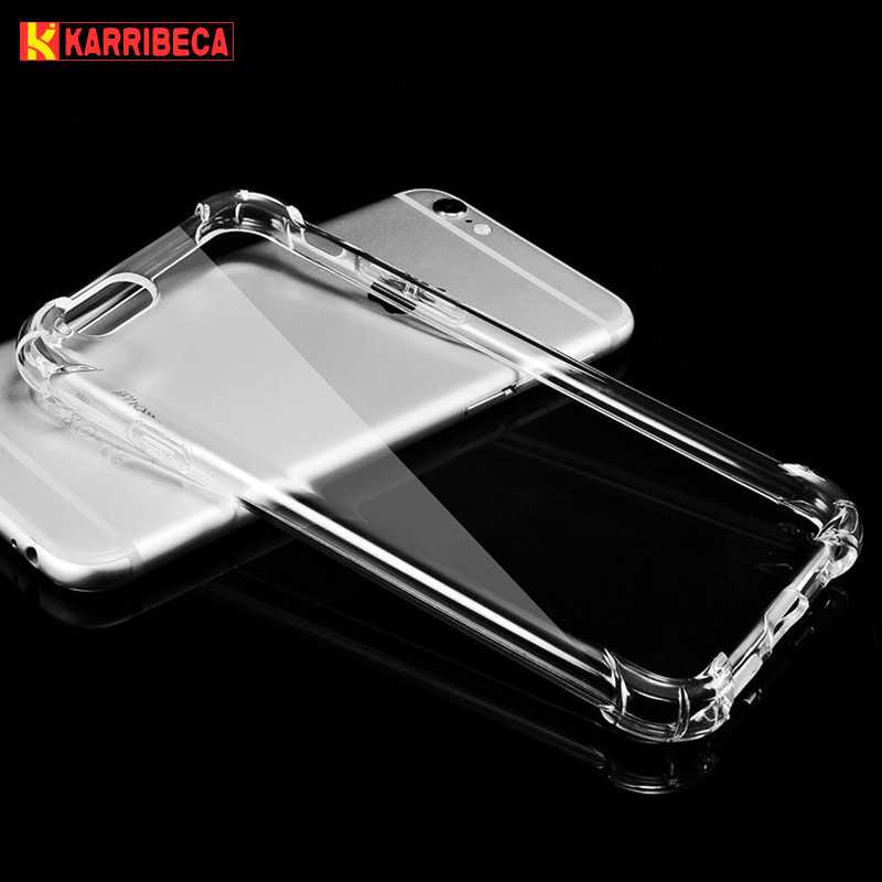 Karribeca Transparent Silicone Case For iphone 6 6s hoesje funda shockproof clear tpu cover for iphone 7 X 8 plus coque etui tok