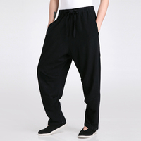 Black Chinese Men S Traditional Martial Arts Trousers Cotton Linen Kung Fu Pant Leisure Loose Pants