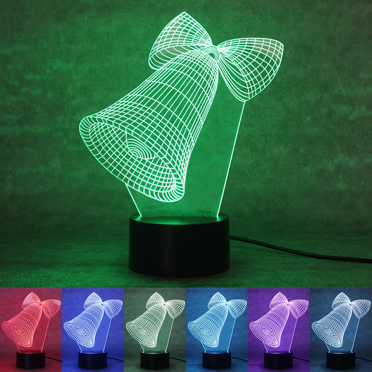The new Christmas bell 3D Nightlight colorful keys LED visual gifts atmosphere lamp lamp