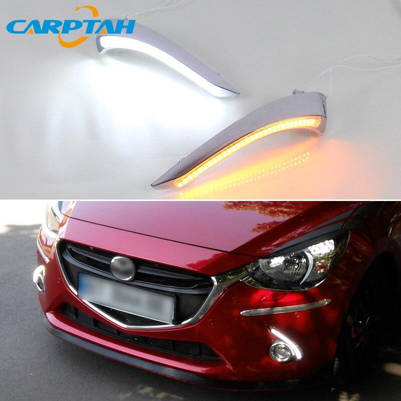 LED Daytime Running Light For Mazda 2 2015 2018 2019 Waterproof 12V Yellow Turn Signal Indicator Light Bumper Lamp LED DRL