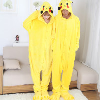 2017 New Anime Cospaly Pokemon Go Pikachu Adult Pajamas Onesie Fantasias Mascot Pikachu Halloween Cosplay Costumes