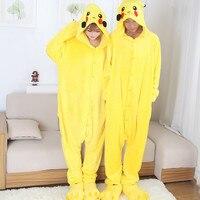 2017 New Anime Cospaly Pokemon Go Pikachu Adult Pajamas Onesie Fantasias Mascot Pikachu Halloween Cosplay Costumes