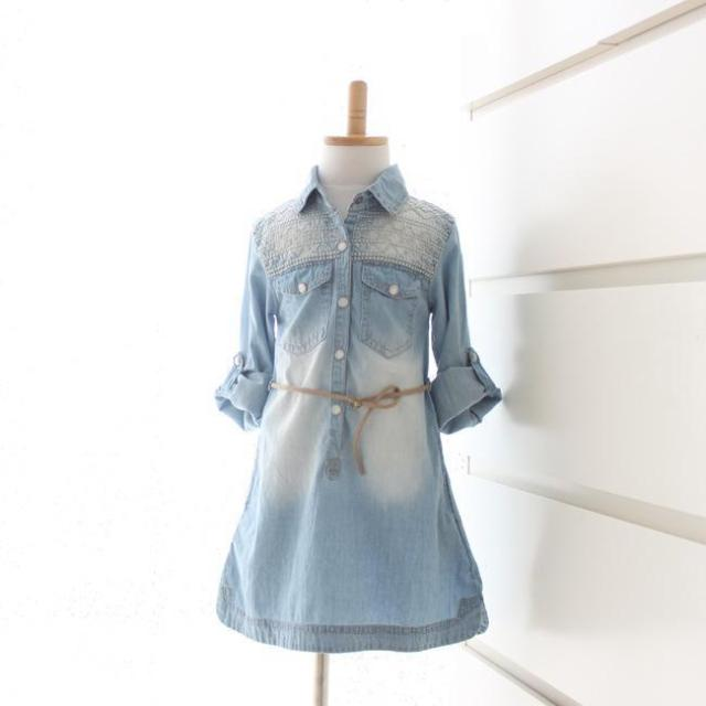 29a26947627a 2015 new brand girl long sleeve denim shirt dress with embroidered ...