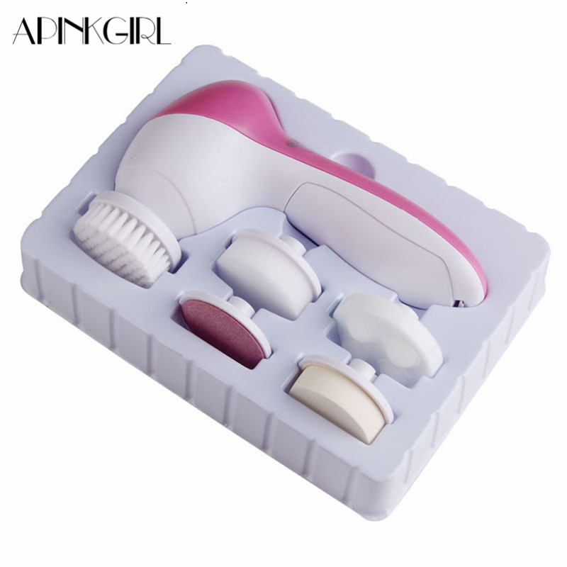 APINKGIRL 5 IN 1 Face Cleansing Brush Electric Face Cleaner Wash Machine Spa Skin Care Massager Cleaning Facial Cleanser Tools