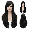 65CM Beautiful Women's Long Curly Synthetic Hair Natural Black Cosplay Wig Heat Resistant Halloween Costume party Wigs