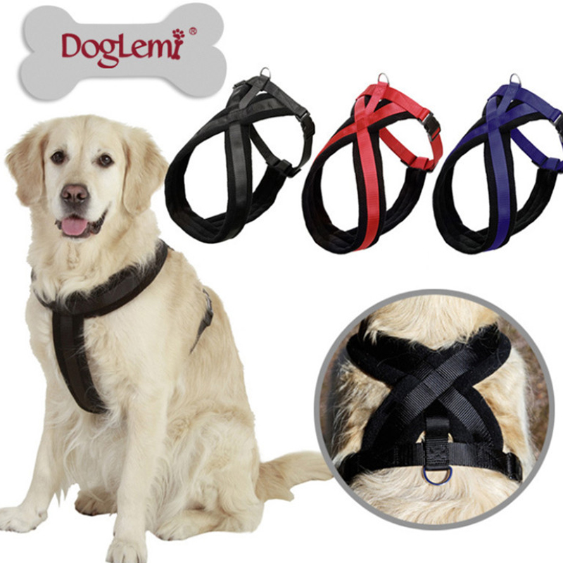 Best S Pet Dog Nylon Soft Large Suspenders Harness Retractable Thick Velvet Comfort Puppy Collar For Cats GXQ004