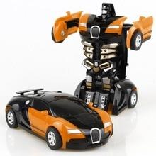 Transformación Robot juguete coche Anime figura de acción juguetes ABS plástico choque transformación modelo regalo para niños