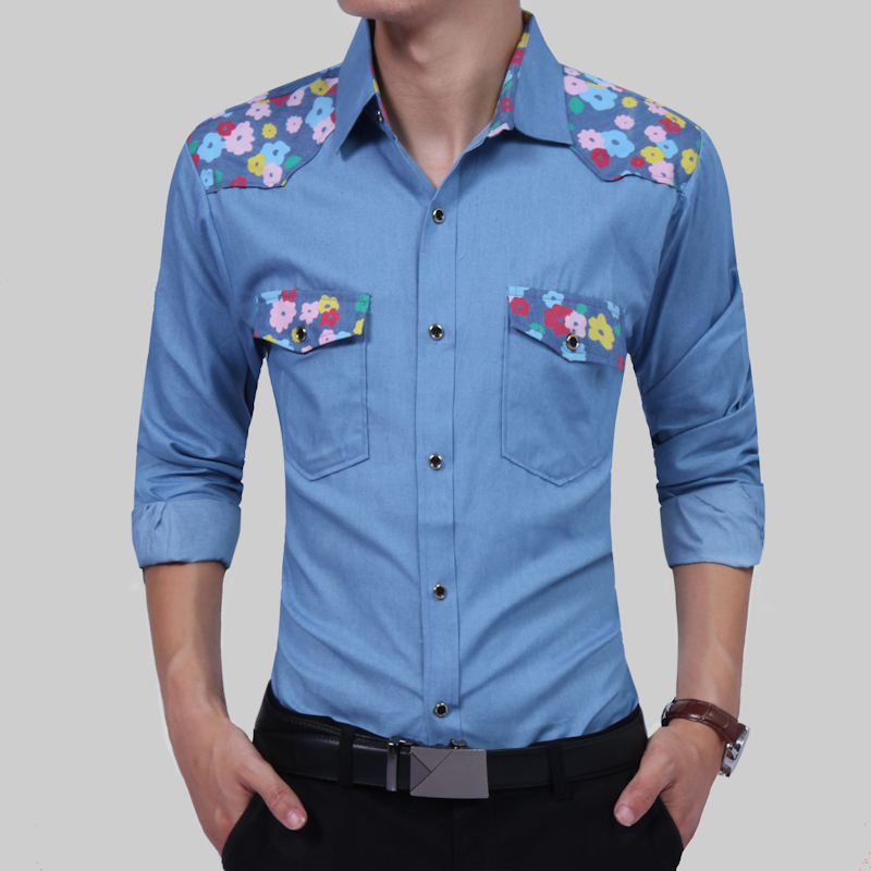 Compare Prices on Denim and Flower Men Shirt- Online Shopping/Buy ...