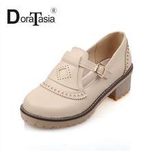 Fashion Vintage Style font b Women b font Pumps Buckle Round Toe Platform Shoes Square Low