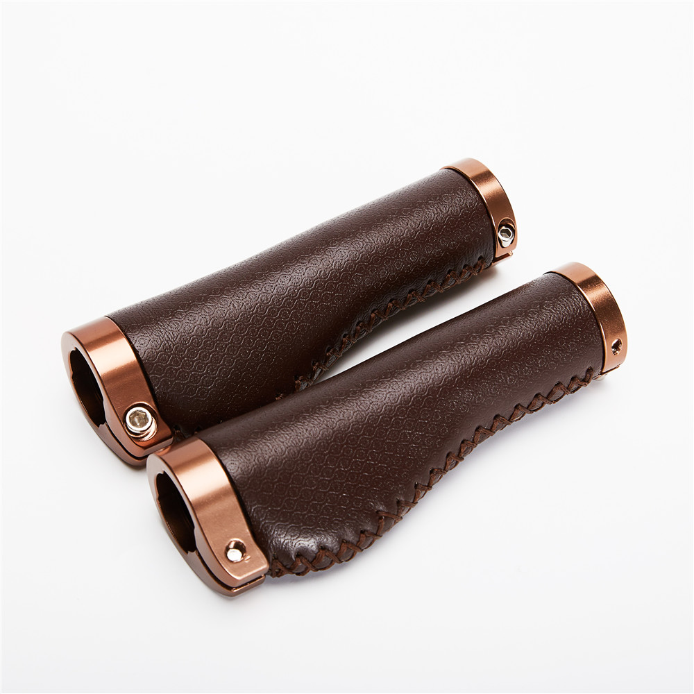 Bike Retro PU Leather Lockable Grips Bicycle Handle Grips Cycling Steering Wheel Bicycle Lock On Vintage Alloy Grip Bicycle Part