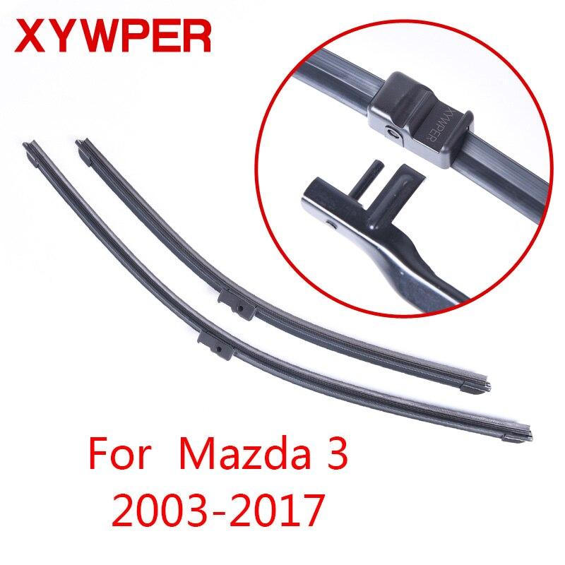 XYWPER limpiaparabrisas para Mazda 3 2003, 2004, 2005, 2006, 2007, 2008, 2009, 2010-2017 accesorios de coche suave de goma del coche limpiaparabrisas