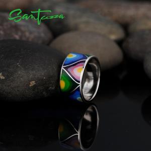 Image 5 - Santuzza Zilveren Ringen Voor Vrouwen Lord Of The Ring Handgemaakte Kleurrijke Enamel Ring Pure 925 Sterling Silver Party Mode sieraden