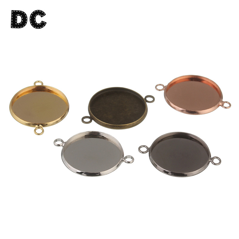 DC 10pcs Round Blank Cameo Cabochon Tray Base 10mm 12mm 14mm 16mm 18mm 20mm 25mm Double Loops Charms Bracelet Connector Findings