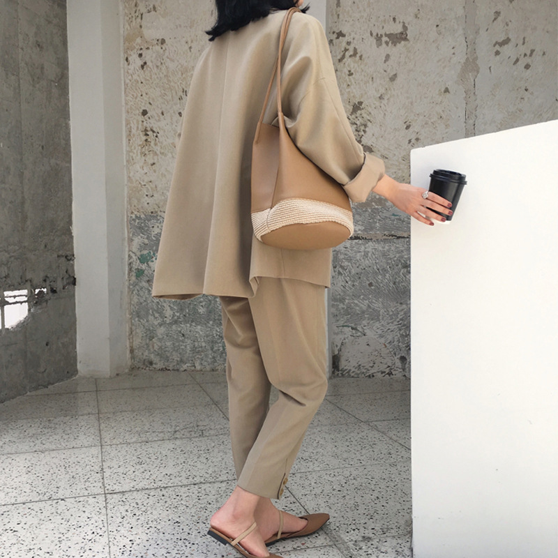 Suit female 2019 autumn new temperament casual loose long suit jacket trousers solid color elegant fashion two piece set in Pant Suits from Women 39 s Clothing