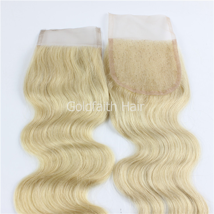 #613 Blonde Lace Top Closure Free Part Body Wave 4x4 7a Brazilian Virgin Human Hair Closure Extensions Blonde
