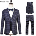 Plaid Herringbone Retro gentleman style custom made Men's suits tailor suit Blazer suits for men 3 piece (Jacket+Pants+Vest) 6XL