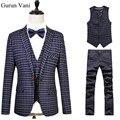 Xadrez Espinha de peixe Retro estilo gentleman ternos dos homens feitos sob encomenda sob medida terno Blazer ternos para homens 3 peça (jaqueta + Calça + Colete) 6XL