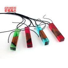 Hot Sale Fashion Women Men Necklace Resin Wood Pendant Long Rope Wooden Necklace Jewelry Women Woven Black Chain Wholesale