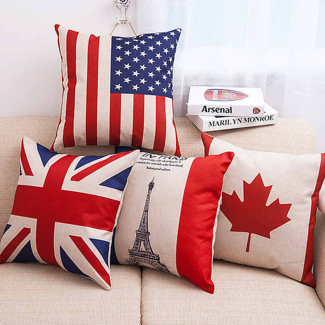 New Fashion national flag Pillow Case Cushion Linen Cotton Square pillowcase For Furniture & Home Decorative Pillow Cover