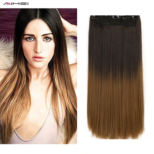 Aimei 24 Straight Synthetic Clip In Hair Extensions Ombre One Piece