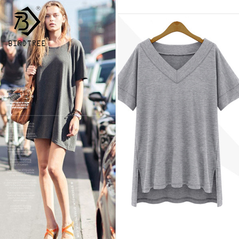 Summer Cotton Oversize Irregular Women Tops Tee Sexy Loose Plain Shirt Women Clothes White Black Plus Size Big 5XL T65248R