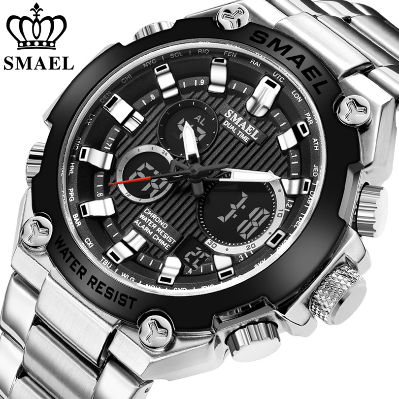SMAEL Brand Men Military Sport Watches Mens LED Analog Digital Watch Male Army Stainless Steel Quartz Clock Relogio Masculino