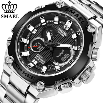 break men watch camera style stainless steel army military analog quartz date black watch men sport waterproof male clock man SMAEL Brand Men Military Sport Watches Mens LED Analog Digital Watch Male Army Stainless Steel Quartz Clock Relogio Masculino