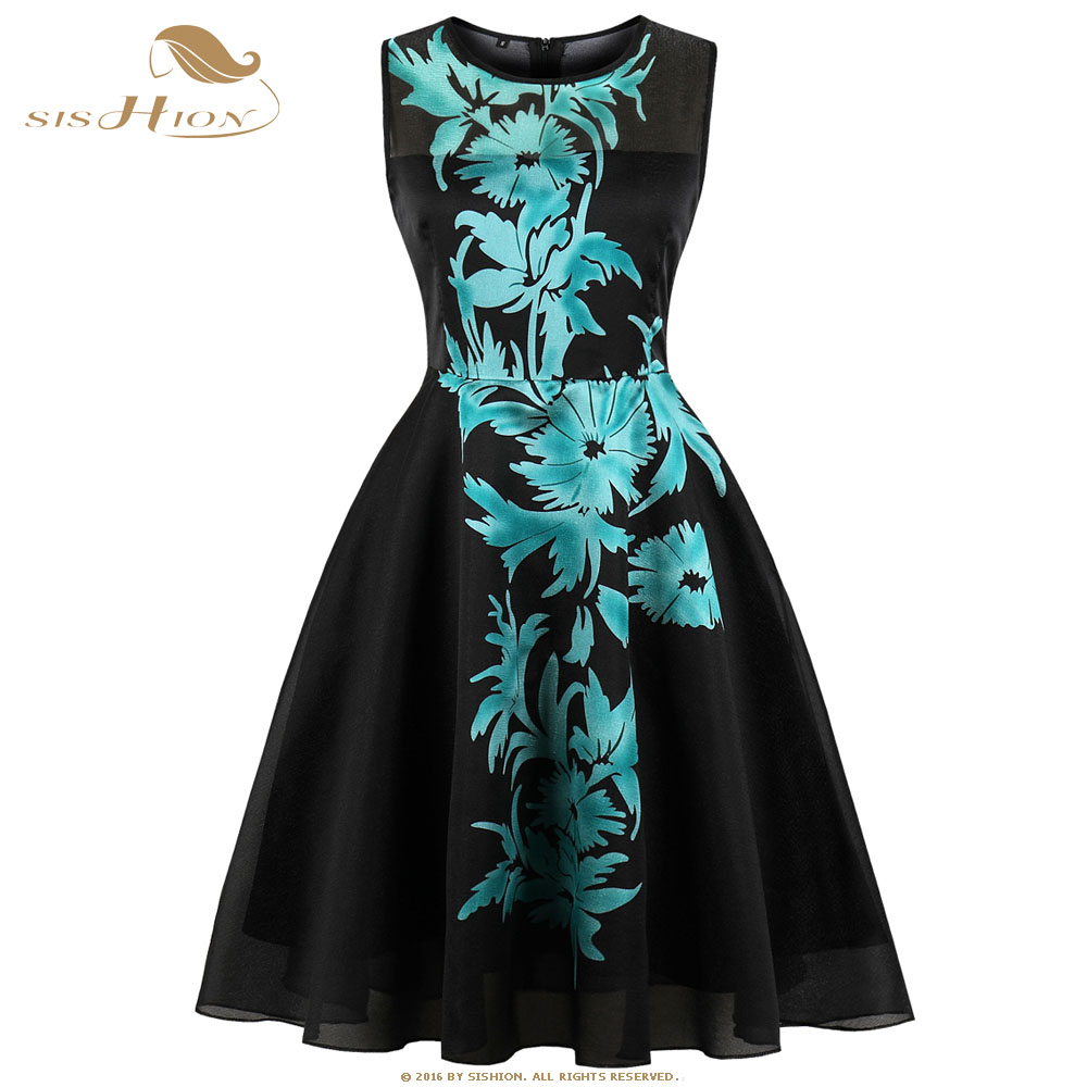 9f8228f41ae8 SISHION Sexy Black Dress Sleeveless Women Floral Print in the Middle Summer  Party Tulle Mesh Swing