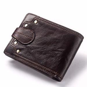 Image 2 - GZCZ nowy 100% prawdziwej skóry portfel mężczyźni męska portmonetka Portomonee zacisk na pieniądze na kieszeń na suwak posiadacz karty Hasp portfel
