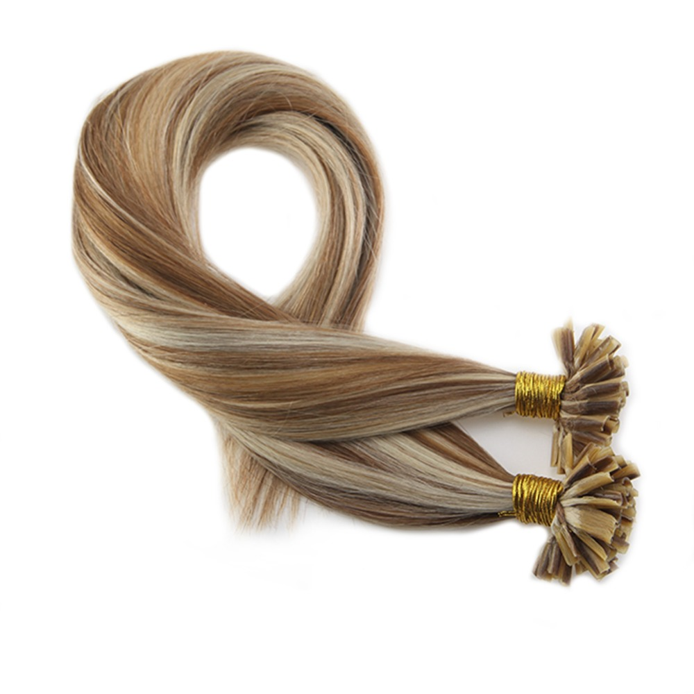 Moresoo U Tip Human Hair Extensions Highlighted Color #6 Brown Mixed With #60 Blonde Remy Human Hair Keratin Hair 1g/1s 50G
