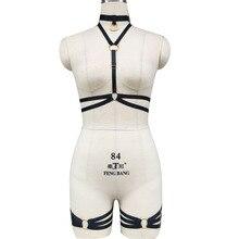 Bra Harness-Set Gold Cage-Bra Leg-Garters Harajuku Adjustable Handmade