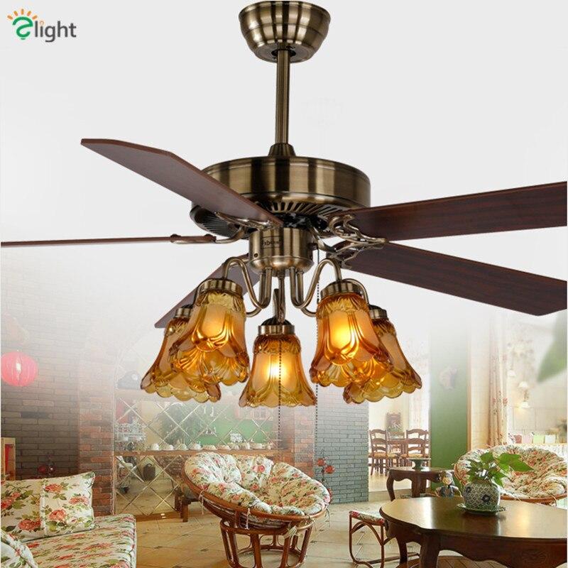 Moderne Bronze métal Led ventilateurs de plafond lampe Lustre en verre salle à manger Led ventilateur de plafond éclairage feuille de bois Led ventilateur de plafond lumières