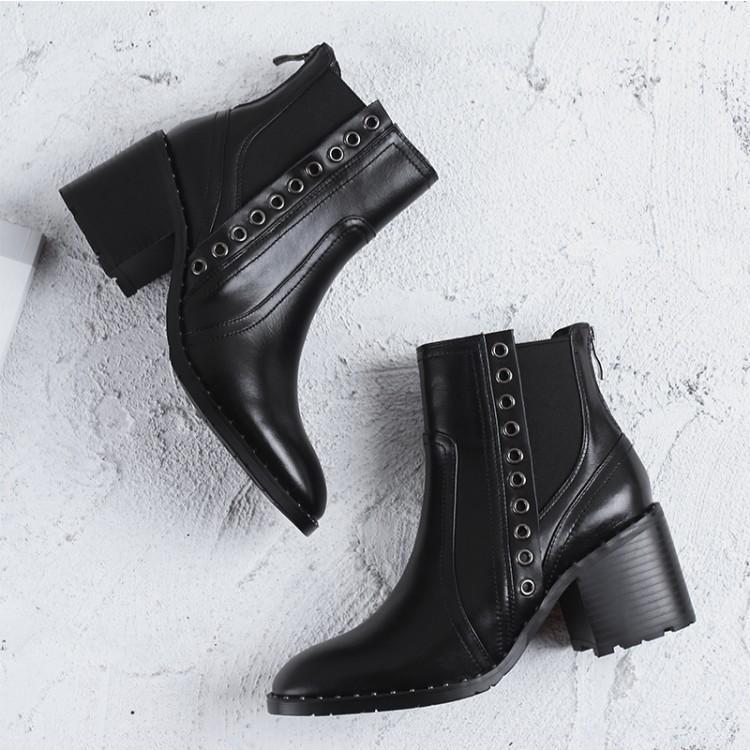 Noir De Bottes Chelsea Cuir Chunky En Chaussures Moyen Rivets Femmes D'hiver Zipper Femme Mode Zapatos Talon Mujer Rond Bout Retour SUwdqBxq