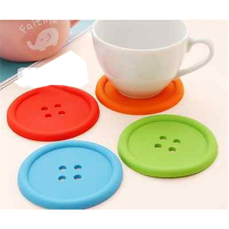 1XSilicone Coffee Placemat Button Coaster Cup Mug Glass Beverage Holder Pad Mat