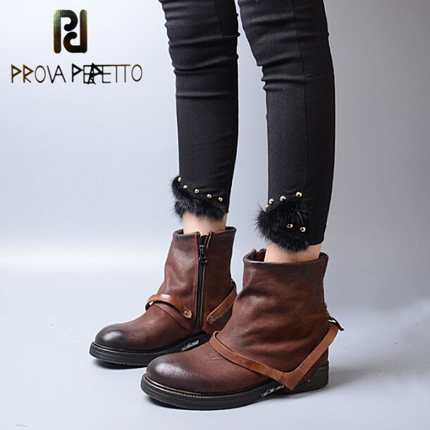 Prova Perfetto Winter New Genuine Leather Chelsea Ankle Boots Do Old Retro Thick Bottom Women Shoes Buckle Belt Short Boots prova perfetto fashion round toe low heel mid calf boots feminino buckle belt thick bottom genuine leather women s martin boots