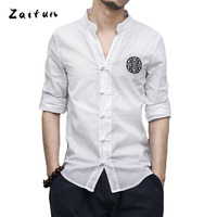 ZAITUN Summer New Pattern Embroidery Men Linen Shirts Chinese Traditional Tang Long Sleeve Slim Fit Casual