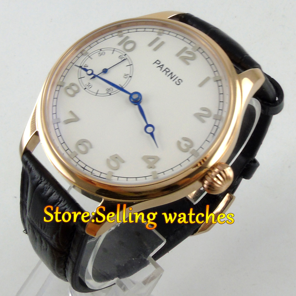 лучшая цена 44mm parnis white dial blue hands black strap 6497 hand winding mens watch