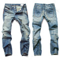 Nuevo 2017 Beswlz Marca Ripped Jeans Hombres Casual Moda Masculina Clásica Denim Jeans Hombres Heterosexuales Masculinos Rayado Azul Jeans Homme