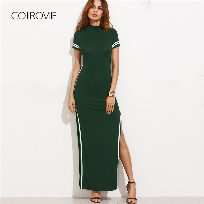 COLROVIE Green Cut Out Striped High Split Knit Girl Sexy Dress Women 2018  Autumn Office Party Dress Elegant Bodycon Maxi Dresses-in Dresses from  Women s ... 97850606c006