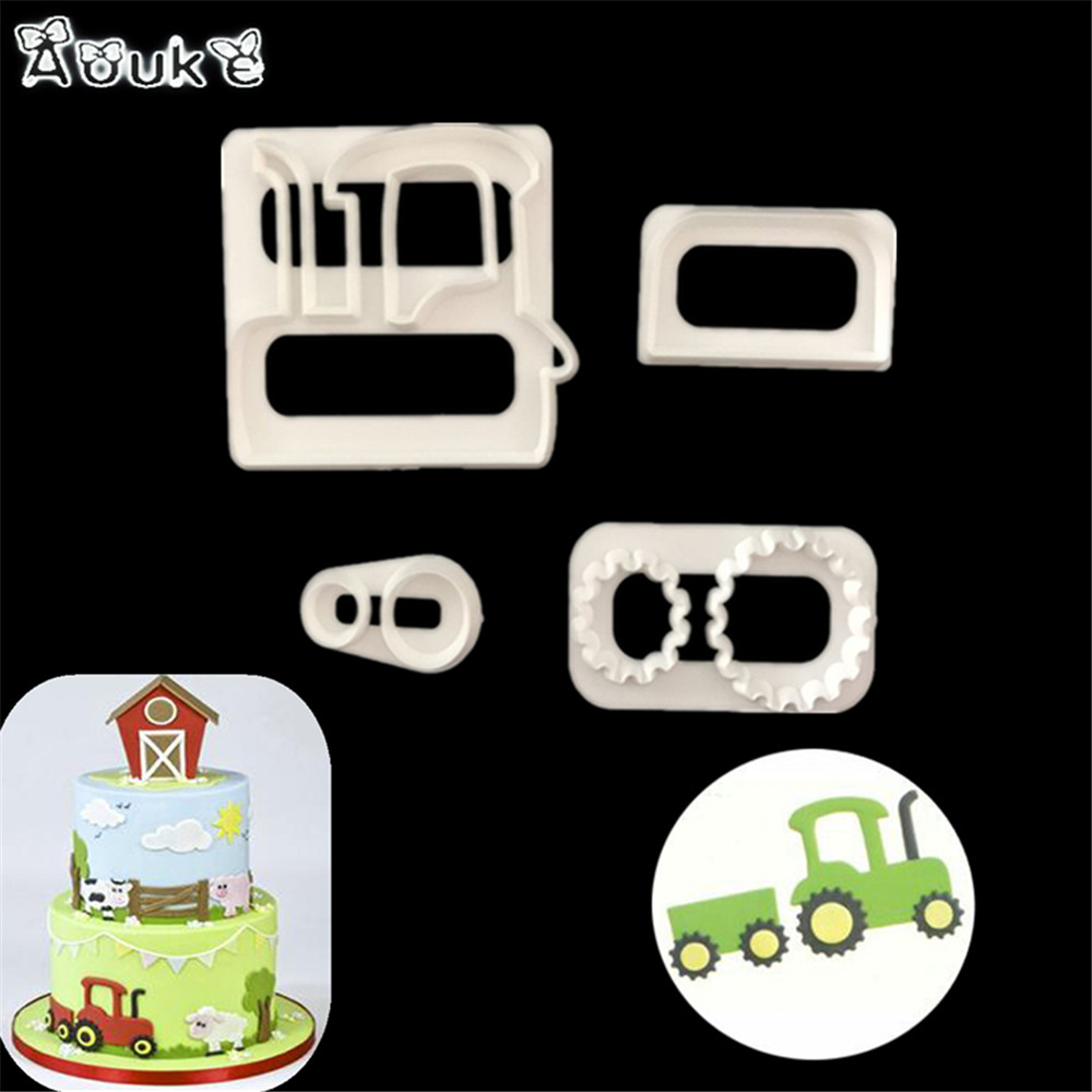 Railway Engine Shape Fondant Cake Plastic Mold Biscuits Cookie Molds Embossed Candy Mould DIY Cake Decoration Baking Tools Aouke