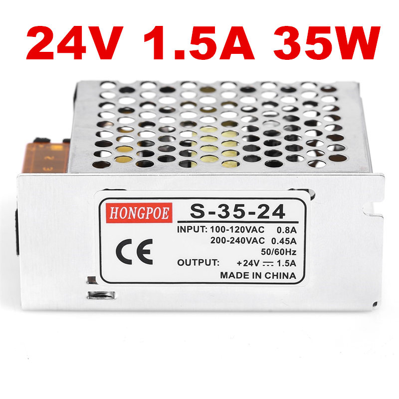 5PCS 24V 1.5A 35W Switching Power Supply Driver for LED Strip AC 100-240V Input to DC 24V free shipping free shipping single led power supply driver ac 100 240v to dc 24v 50w voltage converter