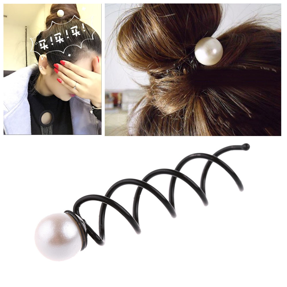 2016 New Hot Fashion Women Girl Pearl Spiral Barrette Spin Screw Pin Elegant Twist Hair Clip Christmas Party Accessories Hot 1pc fashion lovely women girl metal leaf hair clip crystal hairpin barrette headwear christmas party hair accessory 2016 hot