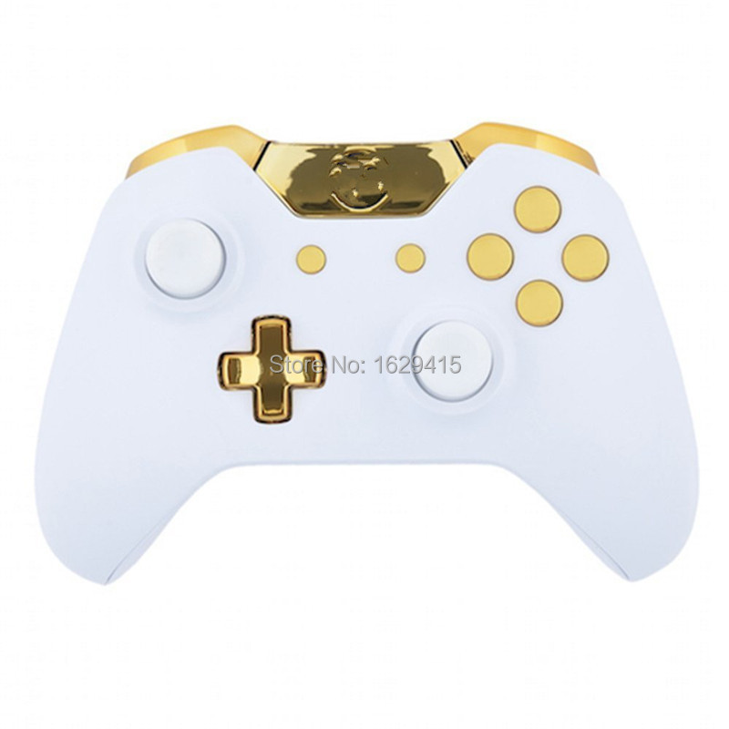 IVY QUEEN Custom For Microsoft XBOX One Wireless Controller Matte White Shell with Full Gold Buttons Mod Kit Without 3.5mm Port
